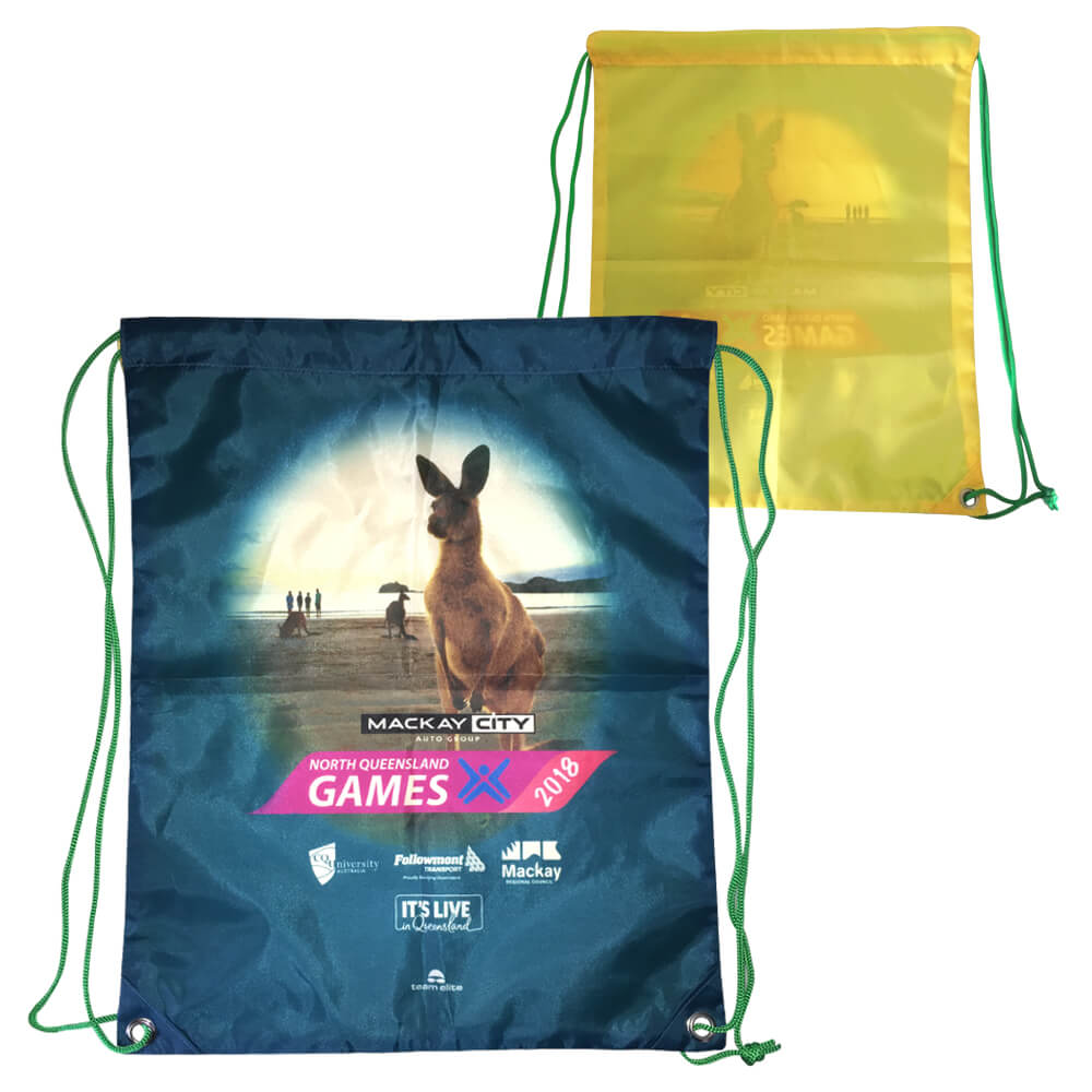 drawstring bag merchandise event sublimated